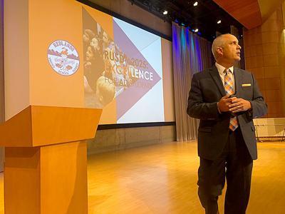 Superintendent Mauricio Arellano speaks at the Redlands Forum