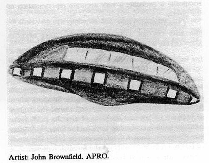 John Brownfield's sketch of a UFO spotted over Redlands in 1968,