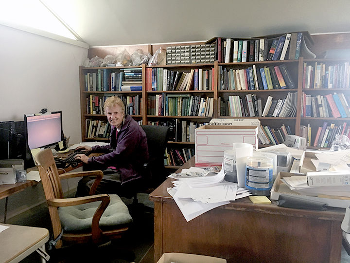 Jane Roberts in the office she shared with her late husband, Jay