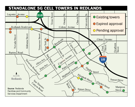 Standalone cell towers in Redlands