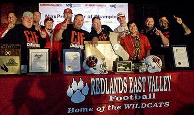 Wildcats celebrate football championship in 2014.