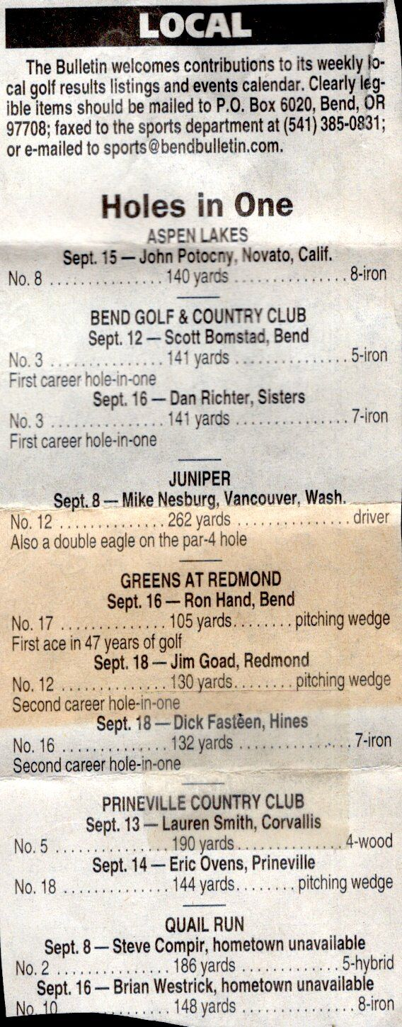 Jim Goad, hole in one