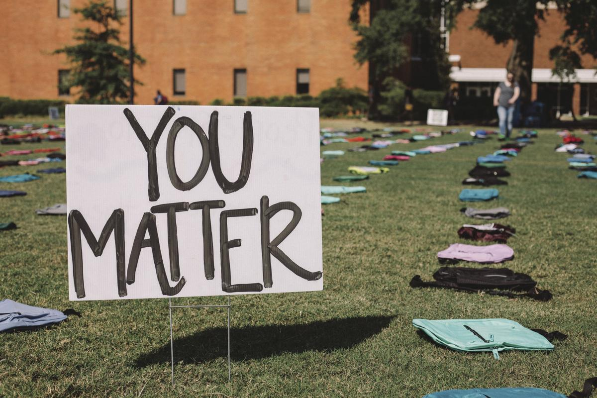 Backpack display brings awareness to elevated college suicide rates