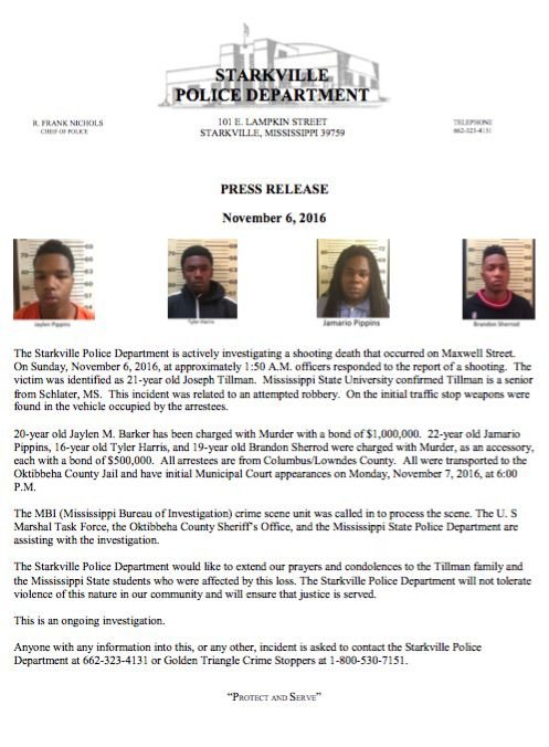 Four arrests made in connection to Joseph Tillman shooting