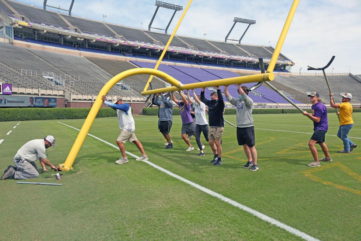 ECU groundskeeping staff preps for Saturday's game 7