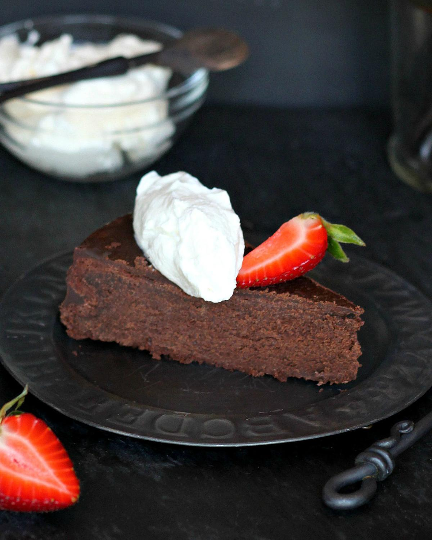 Glazed flourless chocolate cake
