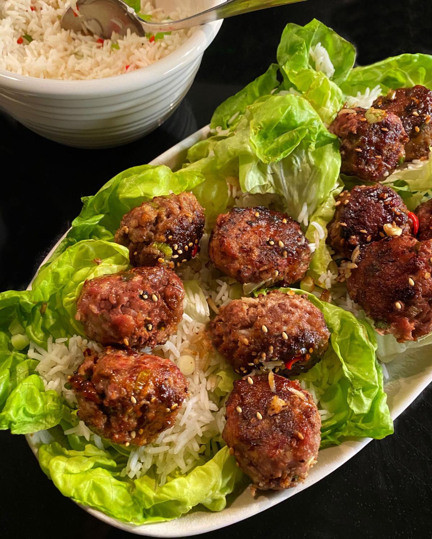 Asian Pork Meatball Lettuce Wraps
