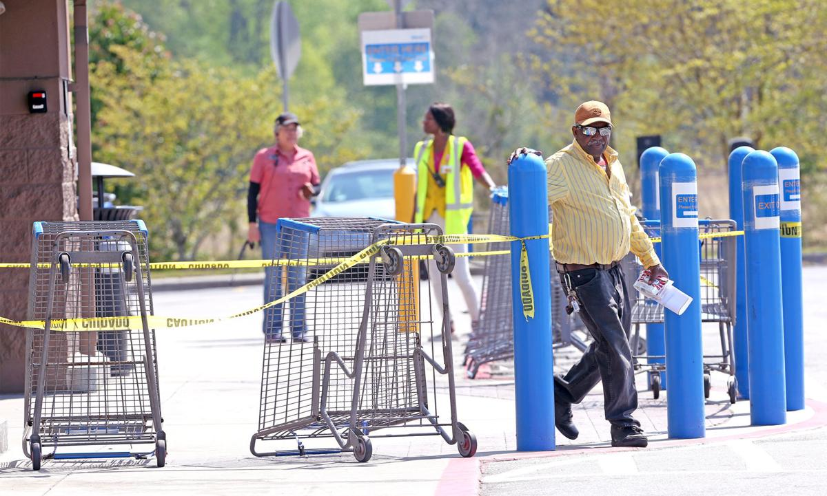 Walmart added barricades to limit the number of customers in the store 2