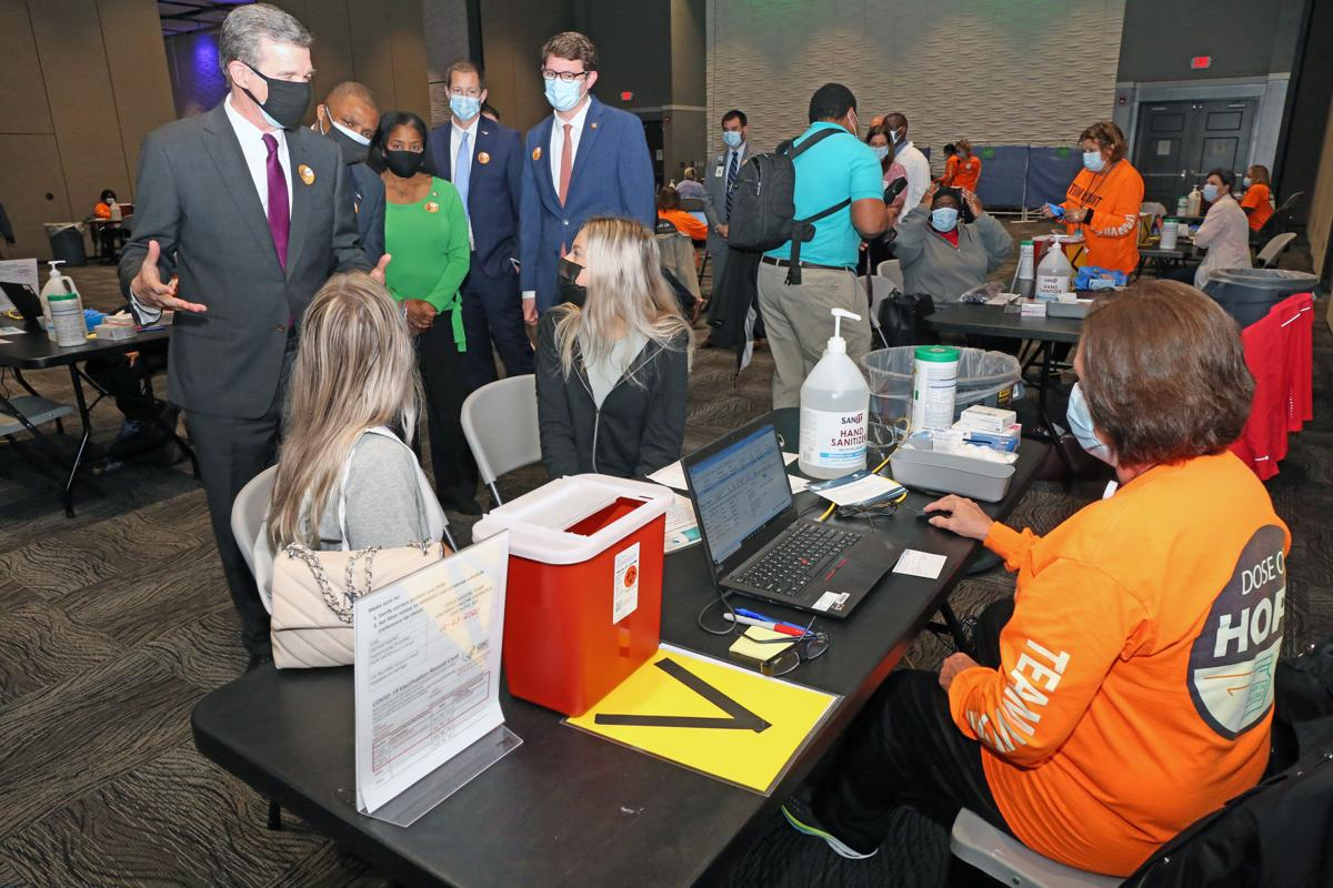 Gov. Cooper tours large scale vaccination clinic in Greenville 1