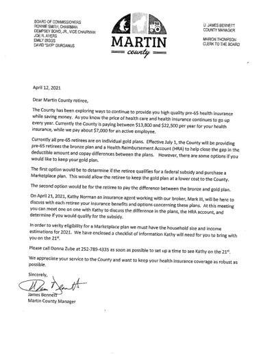 Retiree Letter