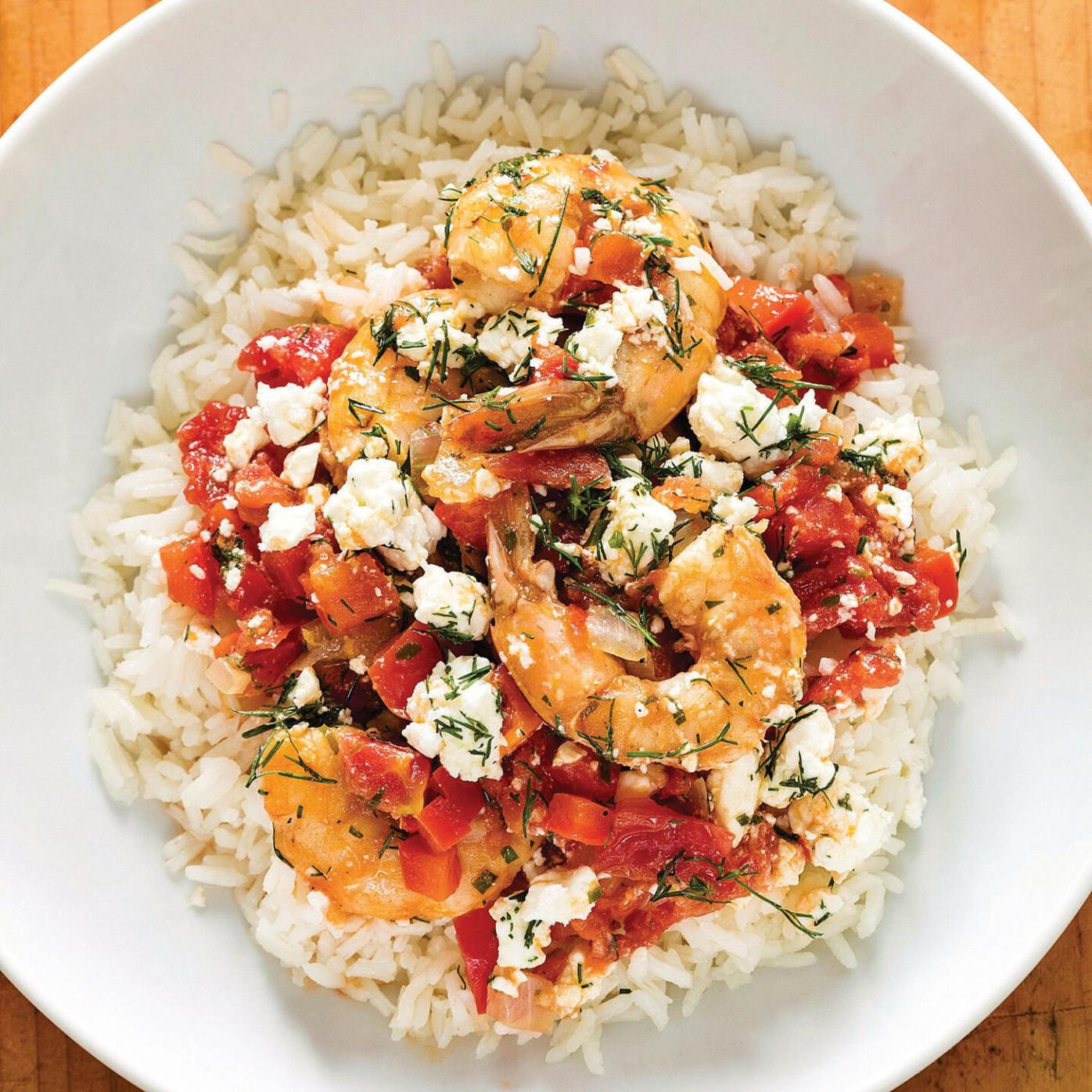 Ouzo adds complexity to shrimp dish