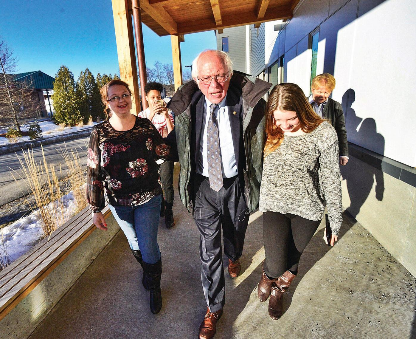 Sanders visits the young and the old