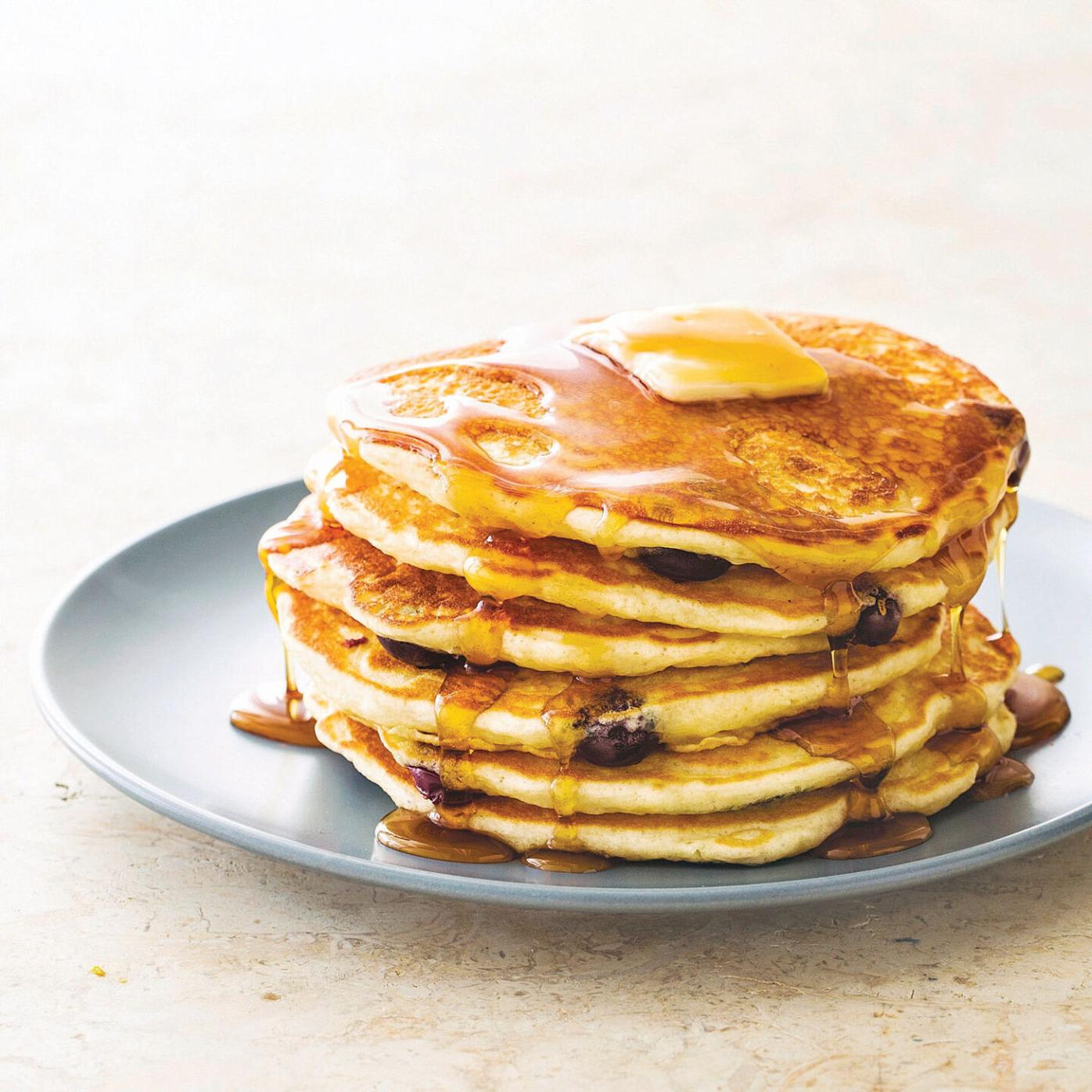A classic brunch starts with a stack of airy pancakes