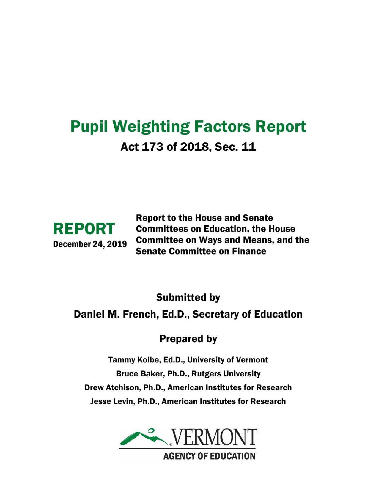 2019 weighting factors study