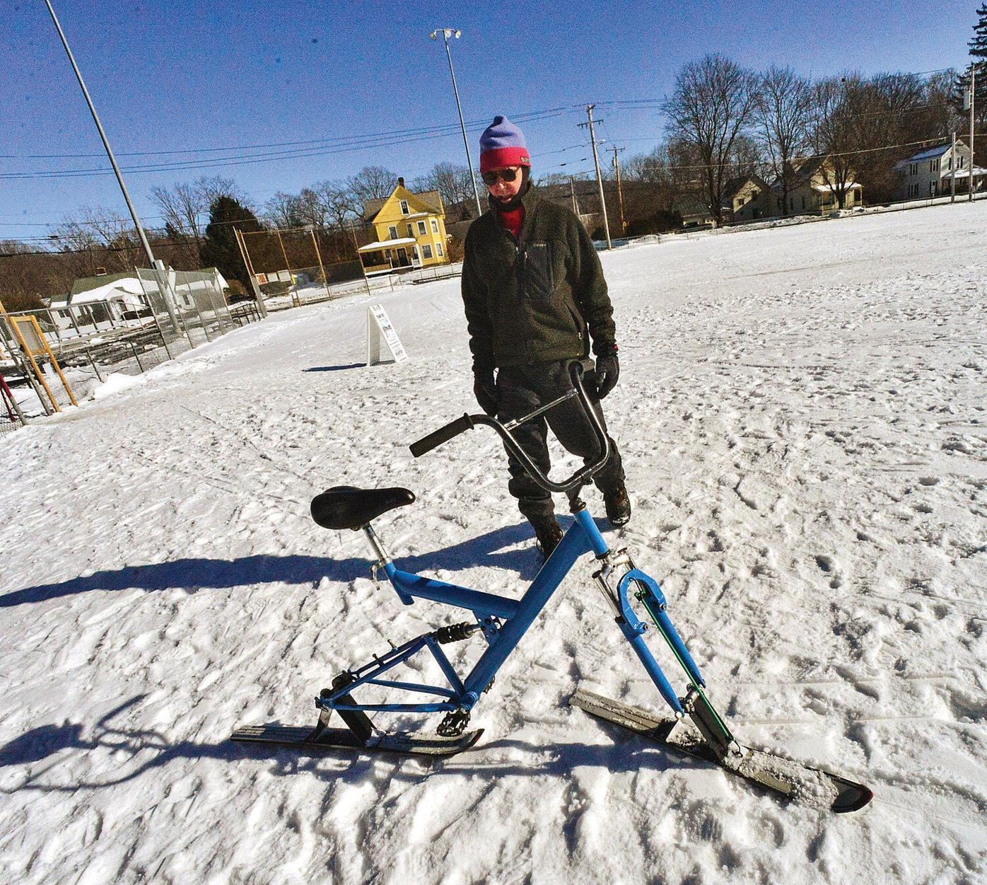 Photos: No wheels, no problem for ski bike creator