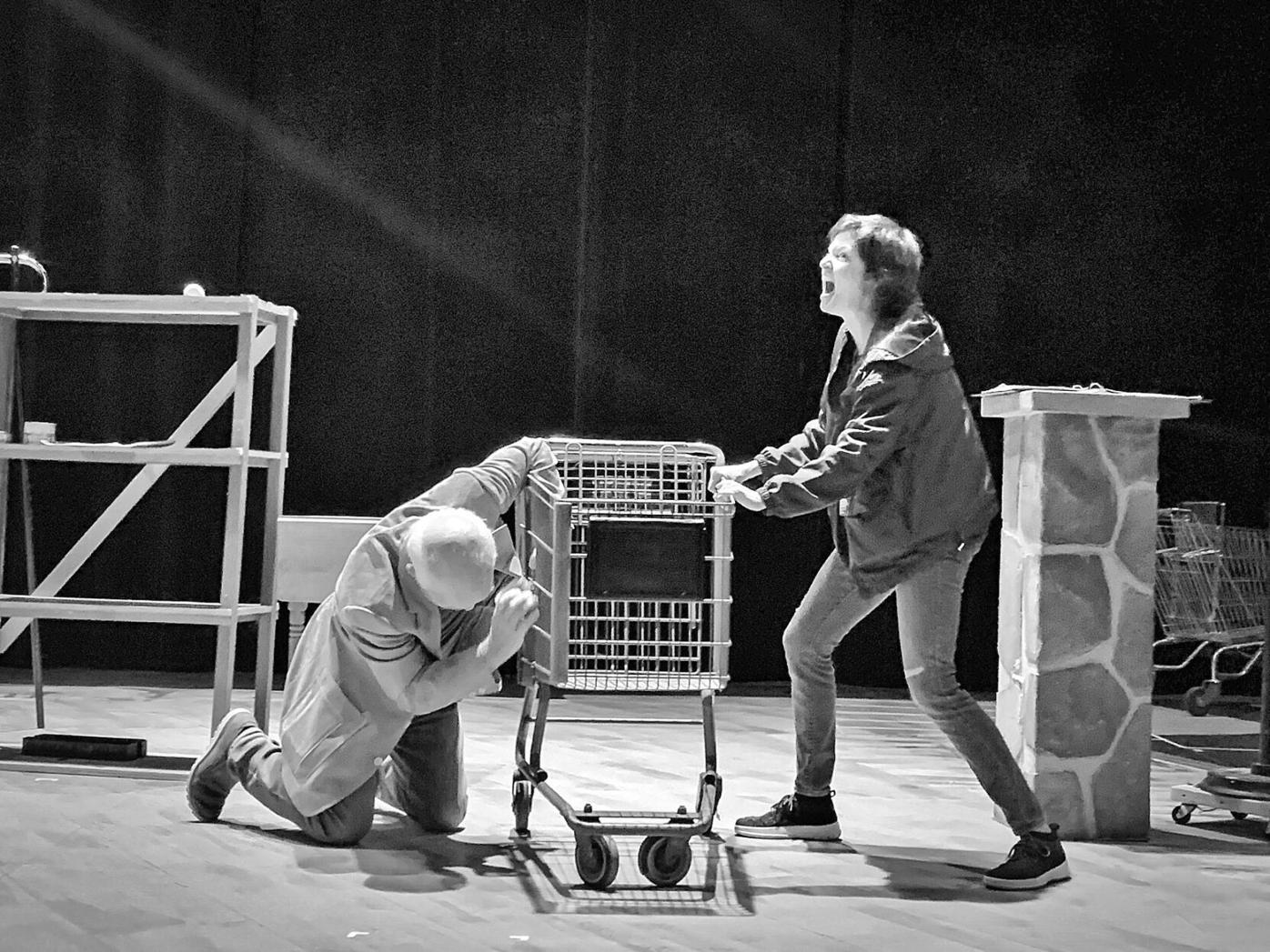 1-Dan Butler and Mary Bacon in rehearsal for Laughing Wild by Christopher Durang-T5-BW.jpg