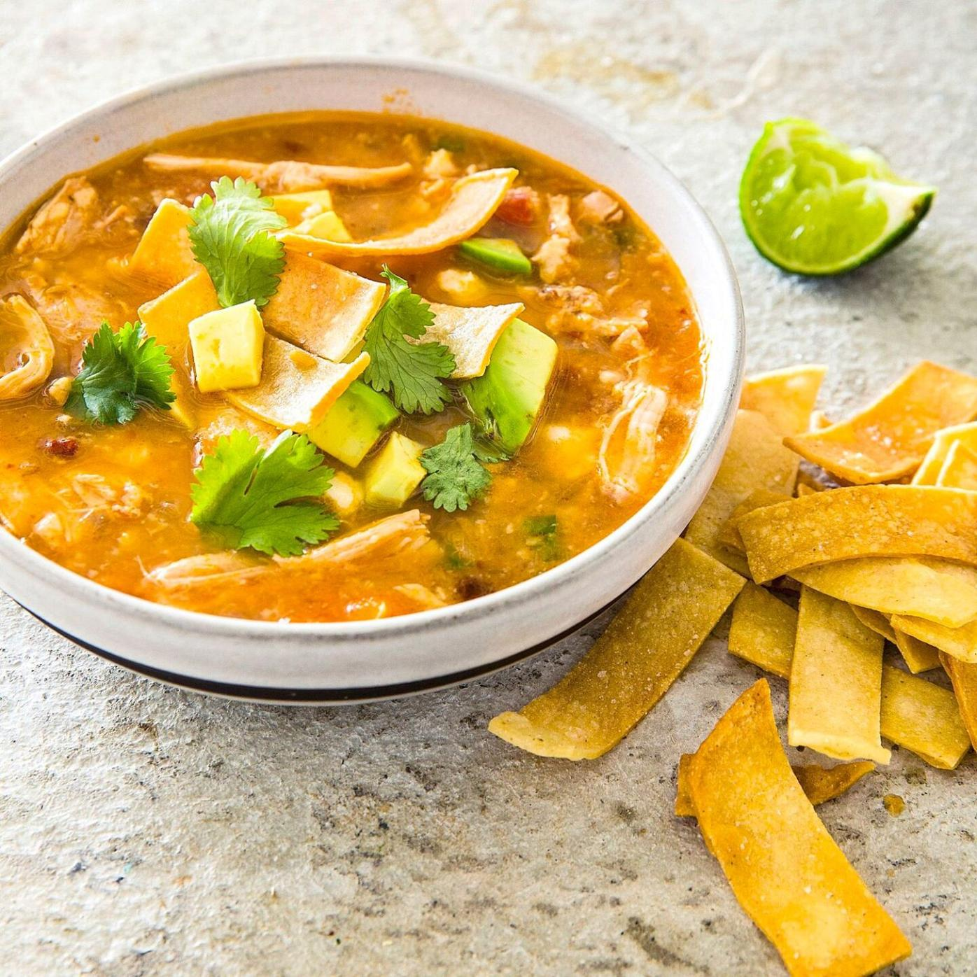 A deeply flavorful tortilla soup from a multi-cooker