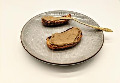 Chicken liver mousse on bread