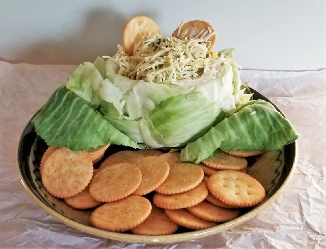 Cabbage with cheese dip and crackers