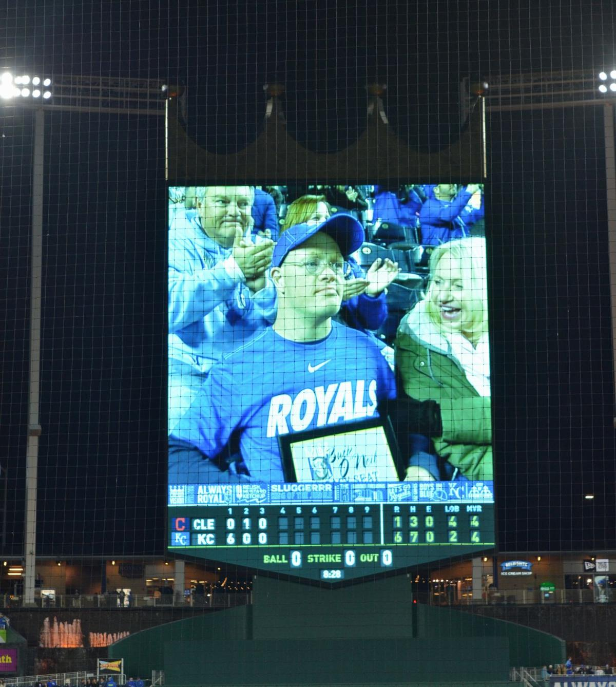 Louisburg business owner honored at Royals game