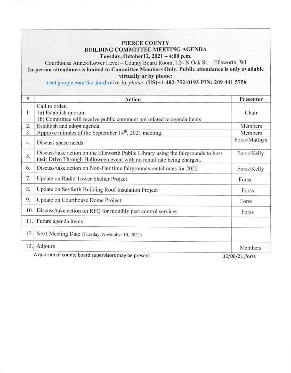 Agenda: Pierce County Building Committee Oct. 12