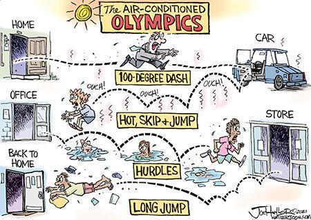 Editorial cartoon Joe Heller air conditioned olympics 072621.jpg