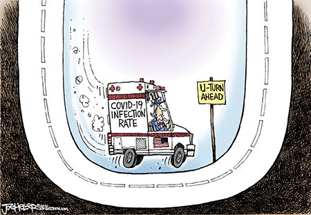 Editorial cartoon Joe Heller covid u turn.jpg