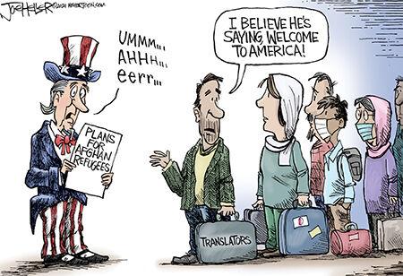 Editorial cartoon Joe Heller Afghan welcome.jpg
