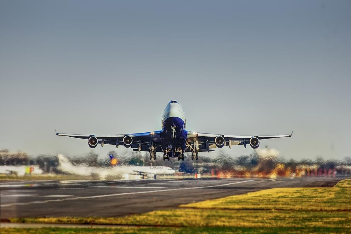 Airplane take off, stock image