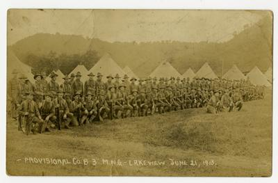 Historic photo; National Guard at Lakeview, Goodhue County