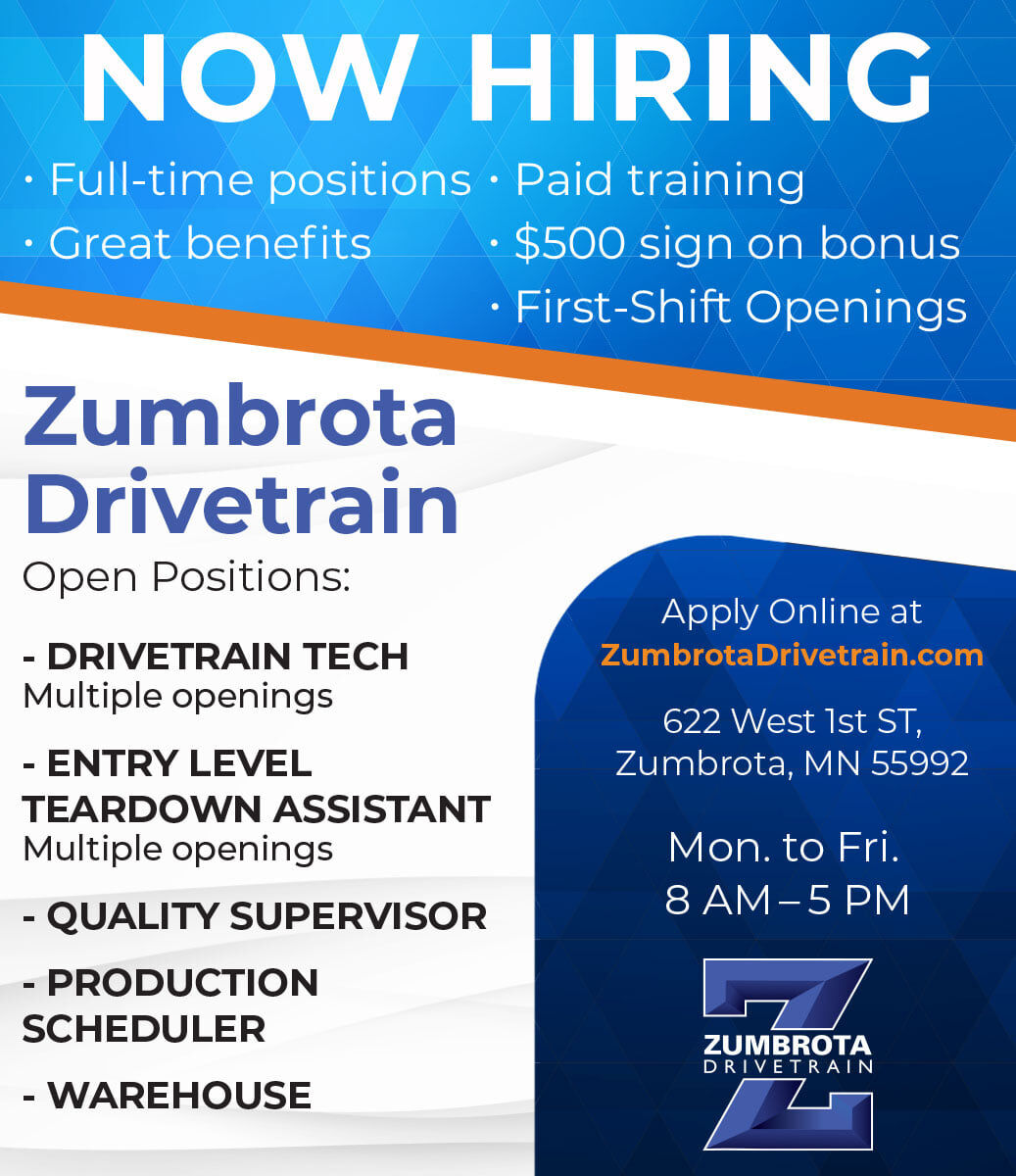 Zumbrota Drivetrain hiring