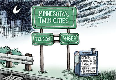 Editorial Cartoon: Joe Heller Twin Cities tension