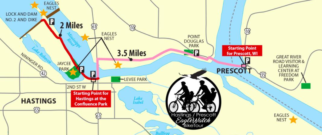 Hastings, Minn and Prescott, Wis. Eagle Watch bike tour