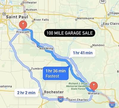 100 Mile Garage Sale map