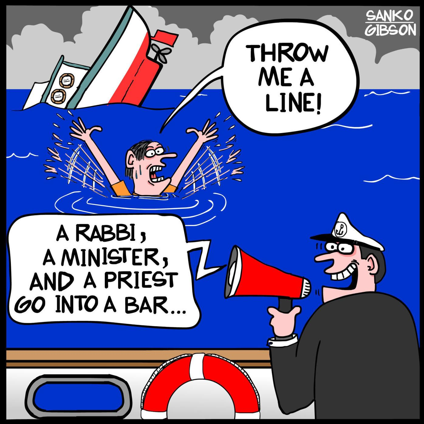 Caption throws a line to a drowning man in a John Sanko cartoon