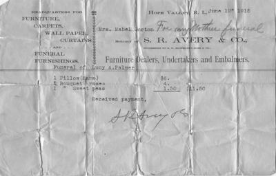 A funeral receipt from 100 years ago