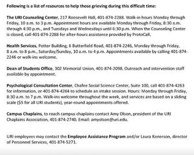 University makes grieving services available
