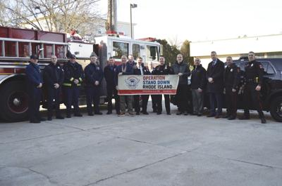 West Warwick police, fire departments present donation to Operation Stand Down RI