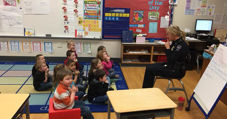 Bucyrus Police Officer Jo Stahl (right) works with students in the Bucyrus  City School District 5-star rated preschool program to teach them lifelong  safety ...