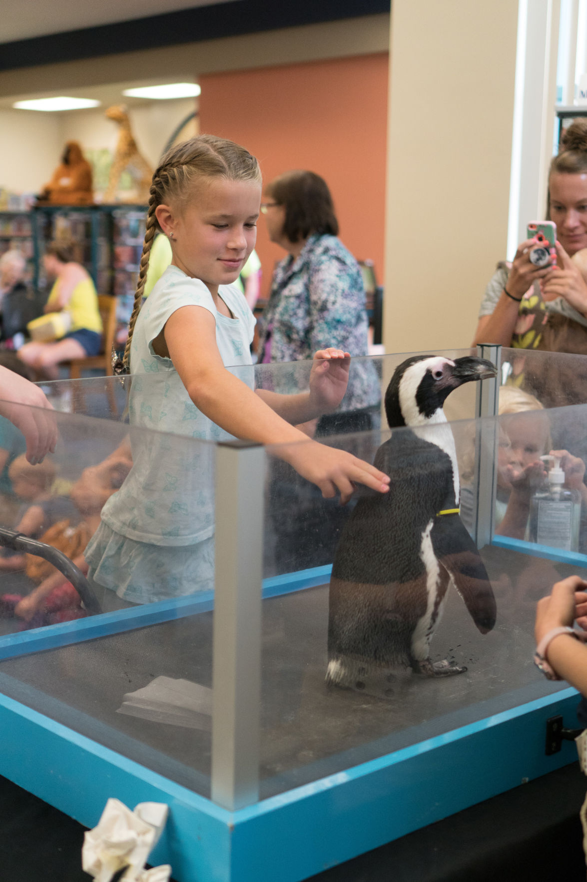 Children interacting with a live Penguin from Newport Aquarium at Main Library.jpg