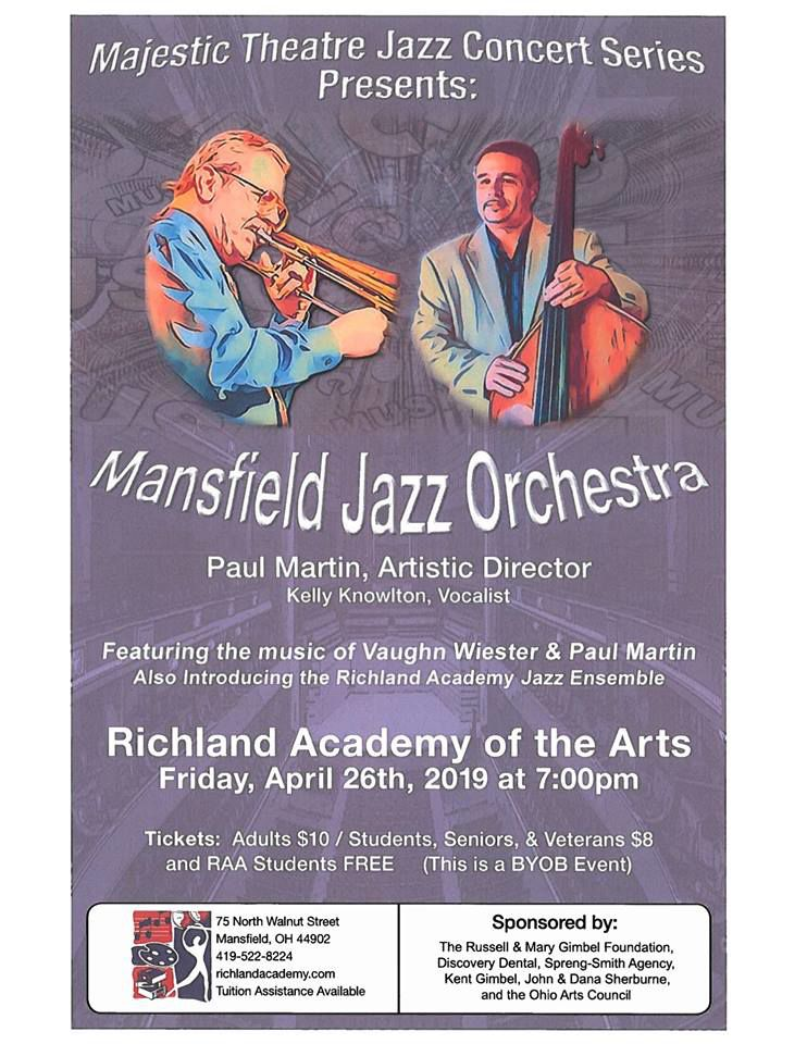 Mansfield Jazz Orchestra to perform at Richland Academy of the Arts on April 26