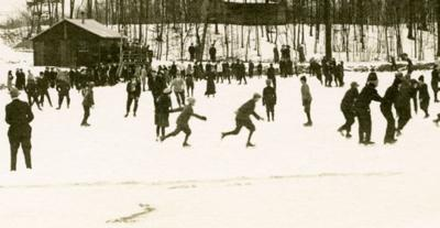 Ice on Maple Lake 1914 led to Mansfield's first winter sports complex