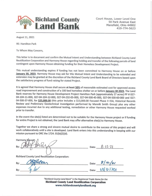 Land Bank commitment letter