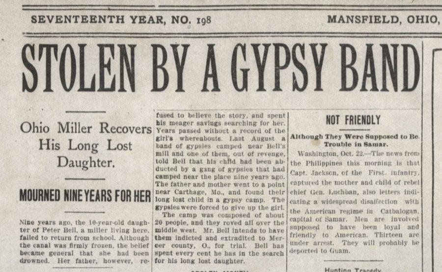 Gypsy headline 1901