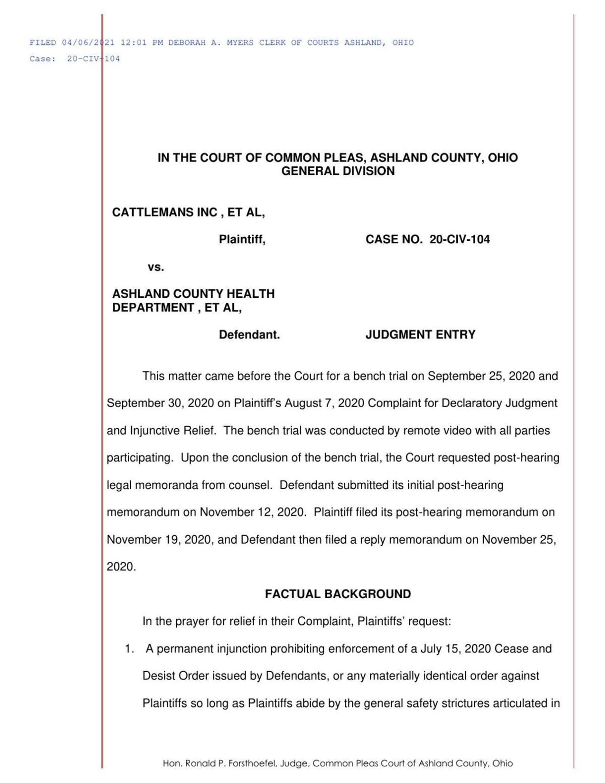 Ashland masks ruling
