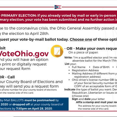 Ohio Secretary of State releases primary election postcards