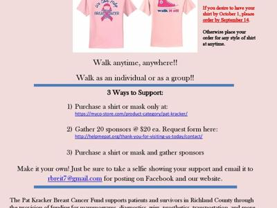Pat Kracker Breast Cancer Fund walking off 2020 in virtual event