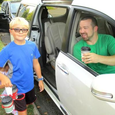 Spanish Immersion students serve free java for Coffee on the Curb program