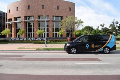 West Sacramento city hall and van