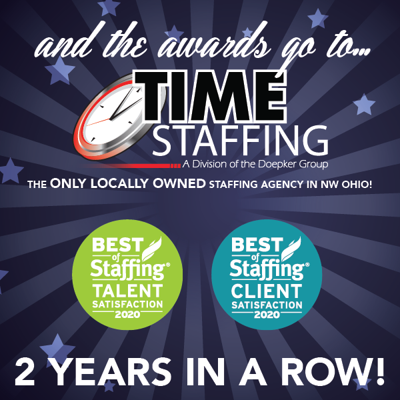 Time Staffing wins ClearlyRated's best of staffing client & talent awards